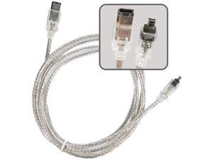 Insten 1044440 6 ft. IEEE 1394 Firewire Cable 6 pin - 4 pin M / M
