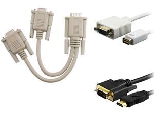 1ST PC CORP. 370262 Mini DVI to VGA DB15 Adapter w/ VGA Y-Split Cable & VGA to HDMI Cable
