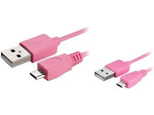 Insten 1542132 6 ft. Pink Micro USB 2- in-1 Cable Pink