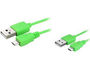 Insten 1542134 6 ft. Micro USB 2- in-1 Cable Green for Samsung Galaxy S4
