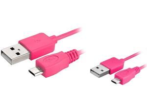 Insten 1542139 6 ft. Micro USB 2- in-1 Cable Hot Pink for Samsung Galaxy S4