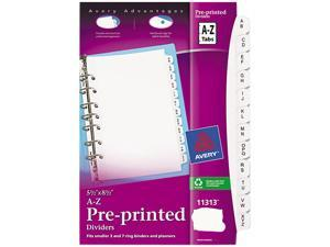 Small Preprinted Dividers, 5-1/2X8-1/2, A-Z, White