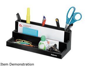 Designer Suites Desktop Organizer, 11 1/10 X 5 X 3 9/10, Black Pearl