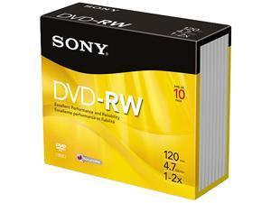 DVD-RW Discs, 4.7GB, 2x, 10/Pack