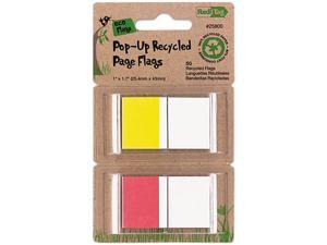 Recycled Page Flags In Pop-Up Dispenser, 1 X 1-7/10, Red/Yellow, 50 Pe