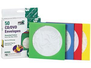 Colored CD/DVD Paper Sleeves, 50/Box