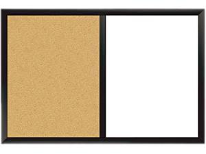 Combo Magnetic Dry Erase & Bulletin Board, 24 x 36, White/Cork, Black