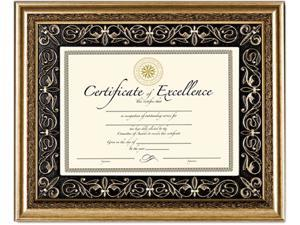 Florence Document Frame With Mat, Gold, Plastic, 11 X 14