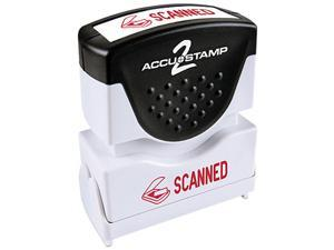 Accustamp2 Shutter Stamp With Microban, Red, Scanned, 1 5/8 X 1/2