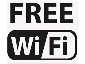 Self-Stick FREE Wi-Fi-Sign, Vinyl, 6 x 6, Black/White
