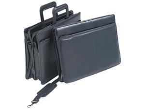 "Leatherette Zippered Portfolio, Five-Part, 4"" Capacity, 16-1/4 X 12, B"