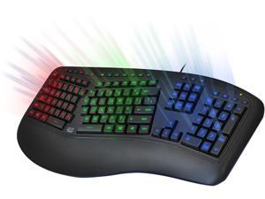 ADESSO Tru-Form 150 AKB-150EB Black 105 Normal Keys USB Wired Ergonomic 3-Color Illuminated Keyboard