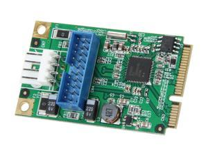 SYBA USB 3.0 19pin Header Card with Dual Type-A Femal Ports Cable, Mini PCI-Express Form Factor Model SD-MPE20142