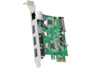 SYBA 3 Port USB 3.1 Gen 1 and Gigabit Ethernet PCI-e 2.0 x1 Card Model SD-PEX50100