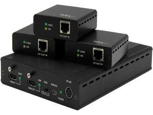 StarTech 3-Port HDBaseT Extender Kit with 3 Receivers - 1x3 HDMI over CAT5 Splitter - Up to 4K ST124HDBT