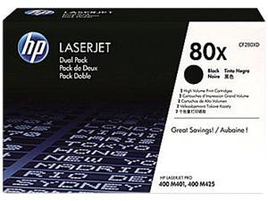 HP 80X 2-Pack High Yield Black Original LaserJet Toner Cartridges (CF280XD)