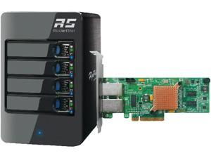 HighPoint RocketStor 6414AS - 4-Bay 6 Gb/s SAS/SATA Hardware RAID Tower Enclosure