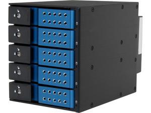 "iStarUSA BPN-DE350SS-BLUE 3x5.25"" to 5x3.5"" SAS/SATA 6.0 Gb/s Trayless Hot-Swap Cage"