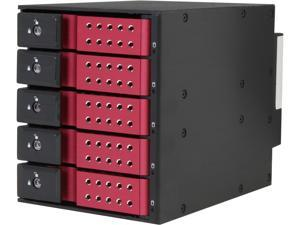 "iStarUSA BPN-DE350SS-RED 3 x 5.25"" to 5 x 3.5"" SAS/SATA 6.0 Gb/s Trayless Hot-Swap Cage"