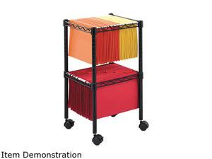 Two-Tier Compact Mobile Wire File Cart, Steel, 15-1/2W X 14D X 27-1/2H