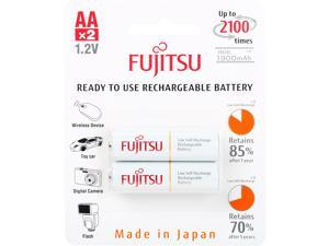 Fujitsu AA 2000mAh 2100 Cycles Ni-MH Pre-Charged Rechargeable Batteries 2 Pack (Made in Japan)
