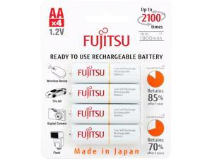 Fujitsu AA 2000mAh 2100 Cycles Ni-MH Pre-Charged Rechargeable Batteries 4-Pack (Made in Japan)