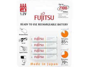 Fujitsu HR-4UTCEX(4B) 4-Pack AAA New 2100 Cycle Ni-MH Pre-Charged Rechargeable Batteries (Made in Japan)