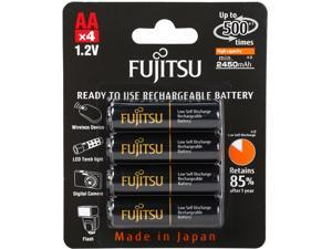 Fujitsu AA 2550mAh 500 Cycles High Capacity Ni-MH Pre-Charged Rechargeable Batteries 4 Pack - Black (Made in Japan)