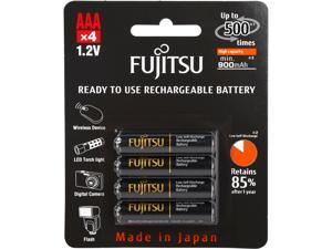 Fujitsu AAA 950mAh 500 Cycles High Capacity Ni-MH Pre-Charged Rechargeable Batteries 4-Pack - Black (Made in Japan)