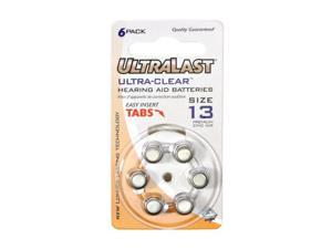 ULTRALAST UL13HA 6-pack Size 13 Zinc Air Coin Cell Batteries