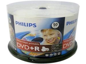 PHILIPS 4.7GB 16X DVD+R White Inkjet Hub Printable Clear Hub 50 Packs Spindle Disc Model DR4I6B50F/17