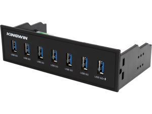 """KINGWIN KW525-7U3C 7 USB 3.0 Port Hub For 5.25"""" Include 1 IQ Charging"""