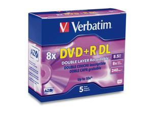 Verbatim 8.5GB 8X(Up to 10X with Compatible High Speed DVD+R DL Drives) DVD+R DL 5 Packs Branded Disc Model 95311