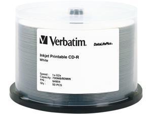 Verbatim CD-R 80MIN 700MB 52X DataLifePlus White Inkjet Printable, Hub Logo, 50pk Spindle - OEM
