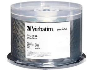 Verbatim 8.5GB 8X DVD+R DL 50 Packs DataLifePlus Shiny Silver Disc Model 96732