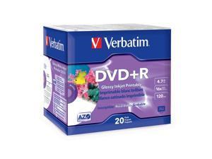 Verbatim 4.7GB 16X DVD+R White Inkjet Printable 20 Packs Disc Model 96122
