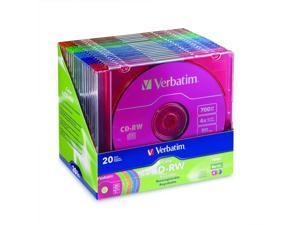 Verbatim 700MB 4X CD-RW 20 Packs 5-Color Media Model 94300
