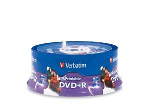 Verbatim 4.7GB 16X DVD+R Inkjet Printable, Hub Printable 25 Packs White Media Model 96190