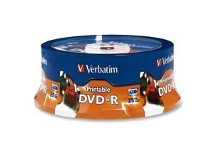 Verbatim 4.7GB 16X DVD-R Inkjet Printable,  Hub Printable 25 Packs 25Pkg DVD Recordable Media Model 96191