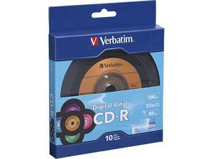 Verbatim Digital Vinyl CD Recordable Media - CD-R - 52x - 700 MB - 10 Pack Box - Bulk