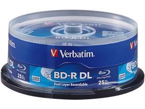 Verbatim 50GB 6X BD-R DL 25 Packs Disc Model 98356