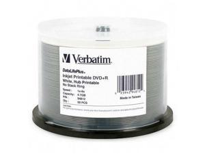 Verbatim DataLifePlus 4.7GB 8X DVD+R White Inkjet Printable, Hub Printable 50 Packs Disc Model 94812