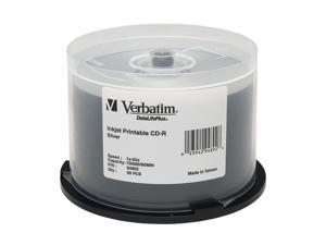 Verbatim 700MB 52X CD-R Inkjet Printable 50 Packs DatalifePlus Silver Disc Model 94892