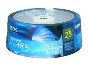 TDK 8.5GB 8X DVD+R DL 25 Packs Disc Model 48973