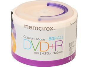 memorex 4.7GB 16X DVD+R 50 Packs Disc Model 98492MR002ZP