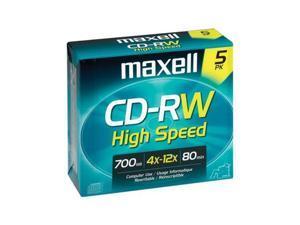maxell 700MB 12X CD-RW 5Pack High Speed Disc Model 630025