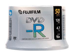 FUJIFILM 4.7GB 16X DVD-R White Surface Inkjet Printable 50 Packs Disc Model 25302082