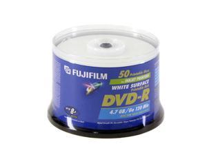 FUJIFILM 4.7GB 8X DVD-R White Inkjet Hub Printable 50 Packs Disc Model 25302487