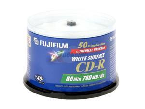 FUJIFILM White Surfaces For Thermal 700MB 48X CD-R Printable 50 Packs Disc Model 25307213