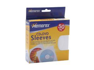 Memorex 01960 CD/DVD Sleeves White, 50 Pack